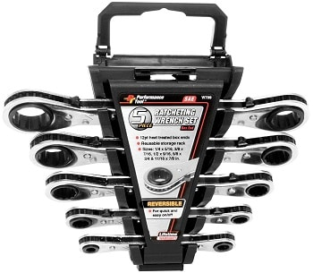 Performance Tool (W709) 5-Piece SAE Ratcheting Wrench Set